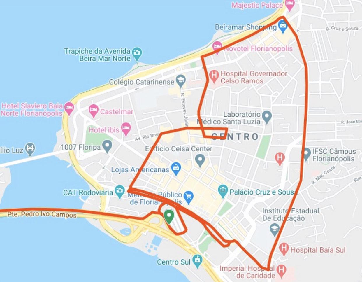 Itinerário de linhas partindo de Florianópolis para Biguaçu para o atendimento especial da Biguaçu TC durante a paralisação decorrente do surto do Novo Coronavírus